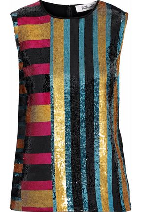 DIANE VON FURSTENBERG Striped sequined crepe de chine top