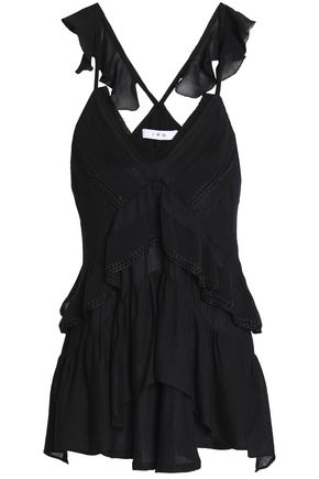 IRO Tiered ruffled georgette top