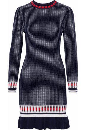 IRIS & INK Tessa fluted jacquard-knit mini dress