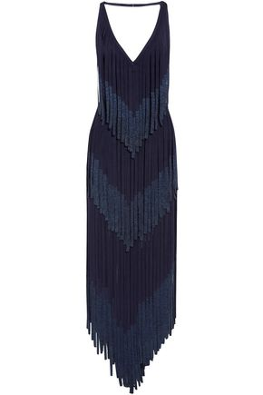 HERVÉ LÉGER Izabel open-back fringed metallic bandage midi dress