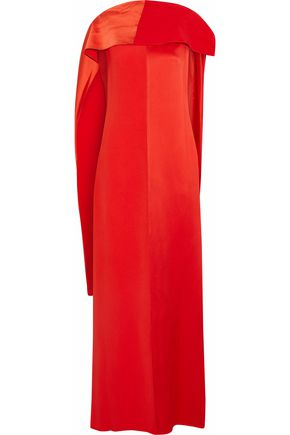DIANE VON FURSTENBERG Paneled draped satin and faille maxi dress