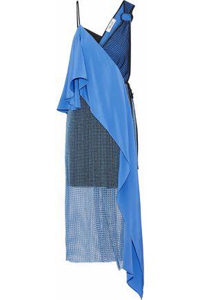 DIANE VON FURSTENBERG Wrap-effect asymmetric crepe de chine-paneled mesh dress