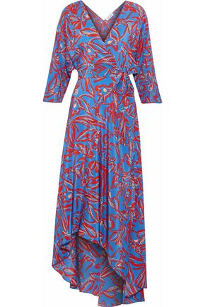 DIANE VON FURSTENBERG Asymmetric printed silk midi wrap dress