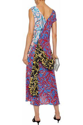 DIANE VON FURSTENBERG Asymmetric layered printed silk midi dress