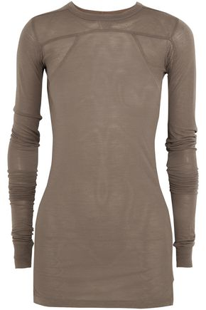 RICK OWENS Ribbed-paneled stretch-jersey top