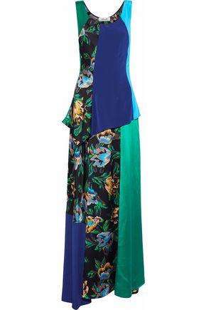 DIANE VON FURSTENBERG Patchwork-effect floral-print silk-satin maxi dress