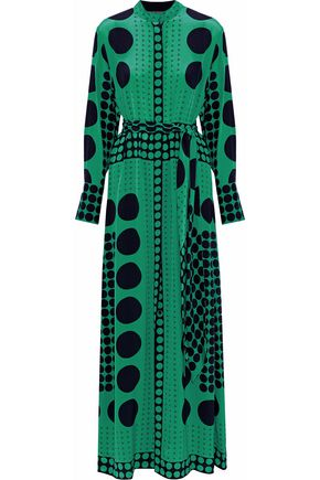 DIANE VON FURSTENBERG Polka-dot silk maxi shirt dress