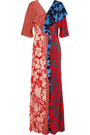 DIANE VON FURSTENBERG Paneled draped printed silk maxi dress