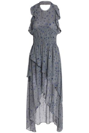 IRO Ruffled layered printed georgette maxi dress
