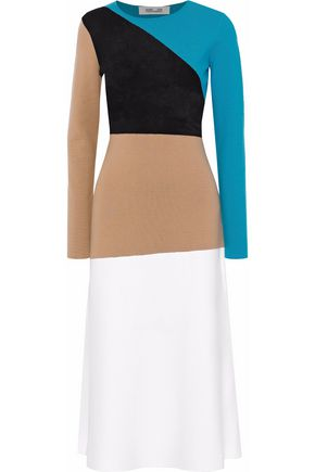DIANE VON FURSTENBERG Terry-paneled intarsia-knit merino wool-blend midi dress