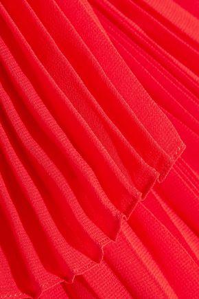 ELIE SAAB One-shoulder plissé-georgette gown