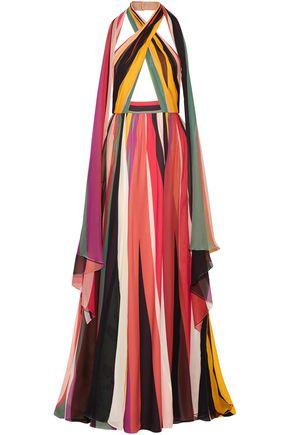 ELIE SAAB Striped silk-blend georgette halterneck gown