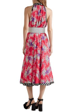 MARC JACOBS Pussy-bow printed silk-satin midi dress