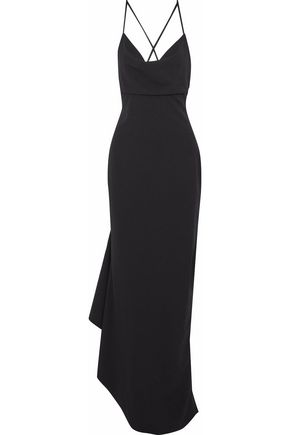 BADGLEY MISCHKA Asymmetric draped crepe gown