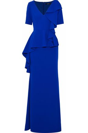 BADGLEY MISCHKA Ruffled cady peplum gown