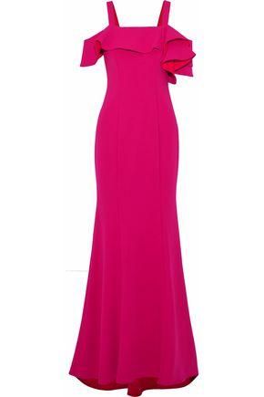 BADGLEY MISCHKA Cold-shoulder ruffled crepe gown