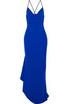 BADGLEY MISCHKA Asymmetric draped crepe gown