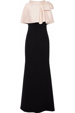 BADGLEY MISCHKA Bow-embellished two-tone faille and cady gown