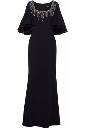 BADGLEY MISCHKA Chiffon-paneled embellished cady gown