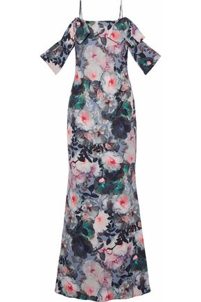 BADGLEY MISCHKA Cold-shoulder draped floral-print cady gown