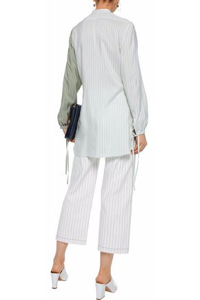 J.W.ANDERSON Ruffle-trimmed pinstriped silk tunic