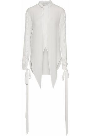 J.W.ANDERSON Wool-paneled lace-up crepe de chine shirt