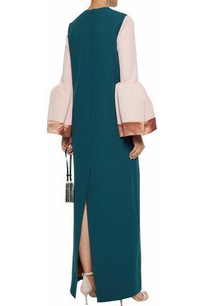 ROKSANDA Color-block satin-trimmed ponte gown