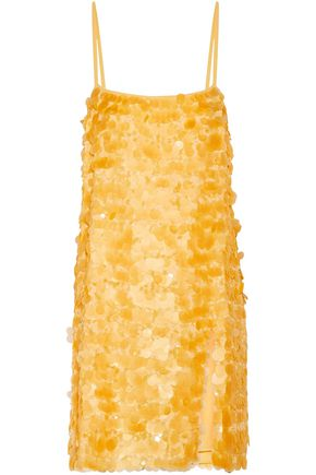 MIU MIU Sequined silk-chiffon slip dress