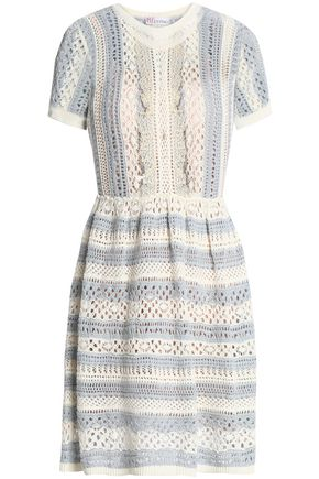 REDValentino Striped crochet-knit dress