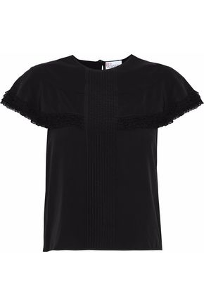 REDValentino Lace-trimmed pleated washed-silk top