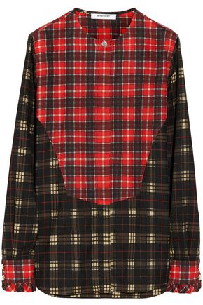 GIVENCHY Ruffle-trimmed checked cotton and wool-blend shirt