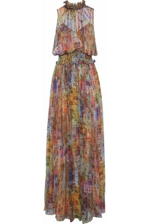 MIKAEL AGHAL Shirred printed silk-georgette gown