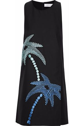 VICTORIA, VICTORIA BECKHAM Embroidered cotton and silk-blend mini dress