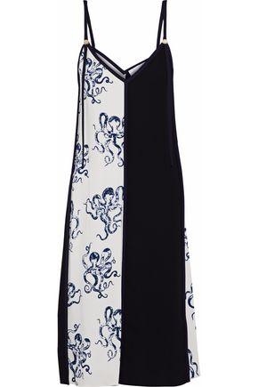 VICTORIA, VICTORIA BECKHAM Paneled printed crepe slip dress
