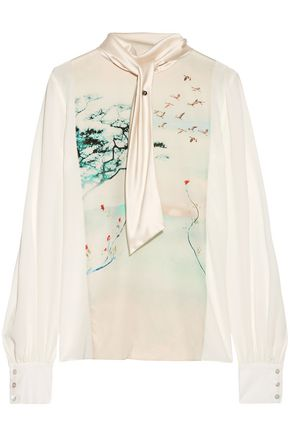 LANVIN Printed satin-paneled silk top