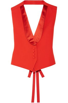 GIVENCHY Cropped satin-trimmed grain de poudre wool vest