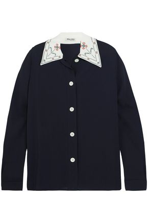 MIU MIU Embroidered crepe de chine shirt