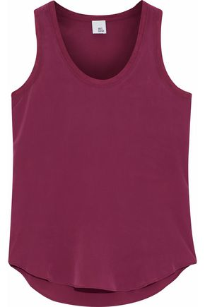 IRIS & INK Paige modal-trimmed washed-silk tank