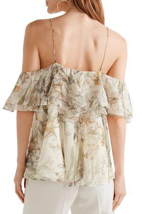ALEXANDER MCQUEEN Cold-shoulder ruffled floral-print silk-georgette top