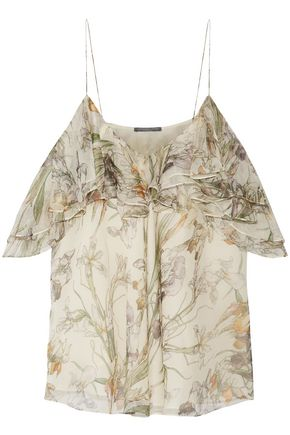 ALEXANDER MCQUEEN Cold-shoulder ruffled floral-print silk-georgette top