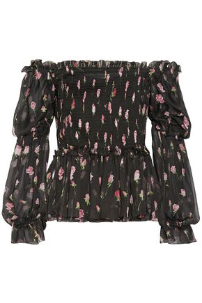 DOLCE & GABBANA Off-the-shoulder shirred floral-print silk-chiffon blouse