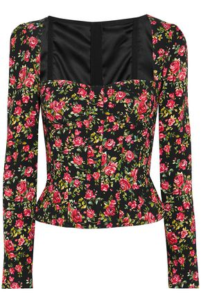 DOLCE & GABBANA Floral-print crepe bustier top