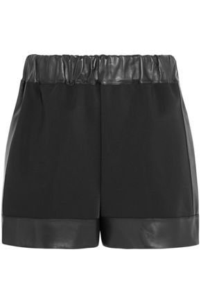 GIVENCHY Leather-trimmed neoprene shorts