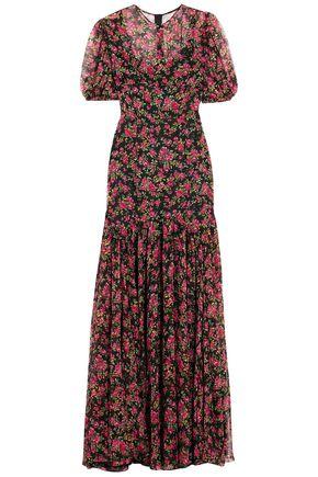 DOLCE & GABBANA Fluted floral-print silk-chiffon gown