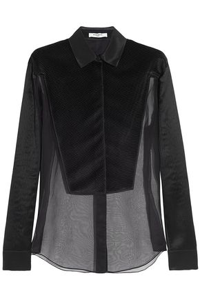 GIVENCHY Pleated shell-paneled silk-organza shirt