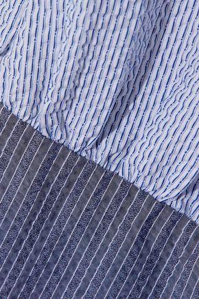 J.W.ANDERSON Pinstriped color-block cotton-seersucker top