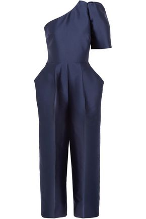 STELLA McCARTNEY One-shoulder cropped satin-crepe jumpsuit