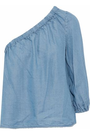 REBECCA MINKOFF One-shoulder chambray top