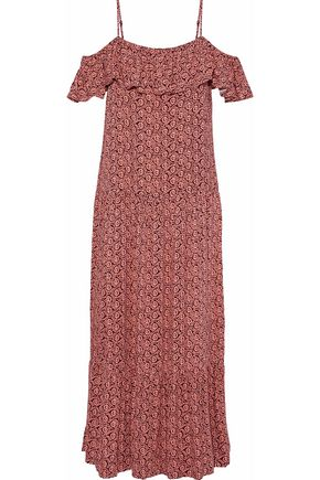 REBECCA MINKOFF Cold-shoulder ruffled printed crepe midi dress