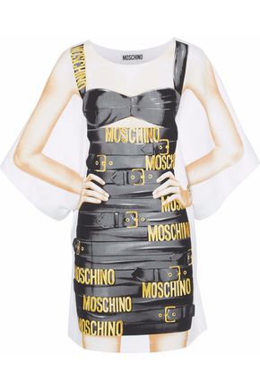MOSCHINO Oversized printed cotton-blend jersey mini dress